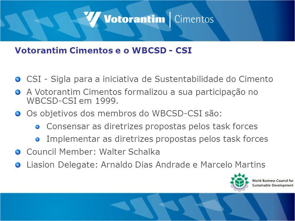 Votorantim Cimentos e o WBCSD - CSI CSI - Sigla para a iniciativa de Sustentabilidade do Cimento A Votorantim Cimentos formalizou a sua participação no WBCSD-CSI em 1999.