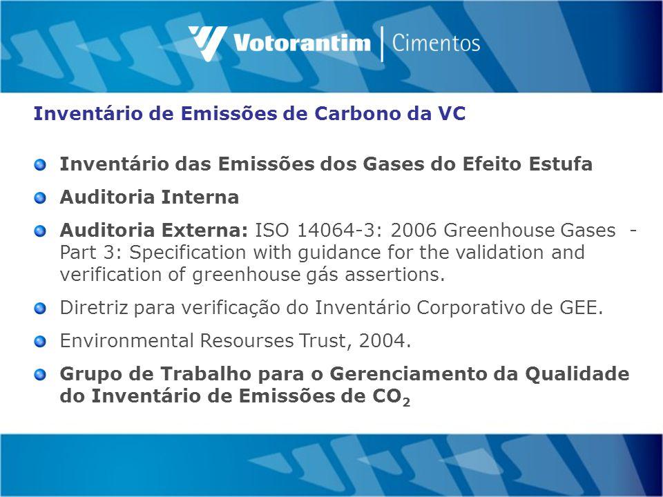 Inventário de Emissões de Carbono da VC Inventário das Emissões dos Gases do Efeito Estufa Auditoria Interna Auditoria Externa: ISO 14064-3: 2006 Greenhouse Gases - Part 3: Specification with guidance for the validation and verification of greenhouse gás assertions.