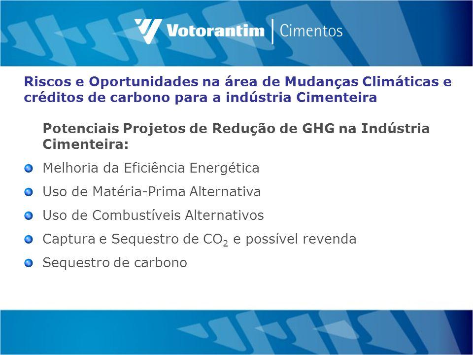 Potenciais Projetos de Redução de GHG na Indústria Cimenteira: Melhoria da Eficiência Energética Uso de Matéria-Prima Alternativa Uso de Combustíveis Alternativos Captura e Sequestro de CO 2 e possível revenda Sequestro de carbono Riscos e Oportunidades na área de Mudanças Climáticas e créditos de carbono para a indústria Cimenteira