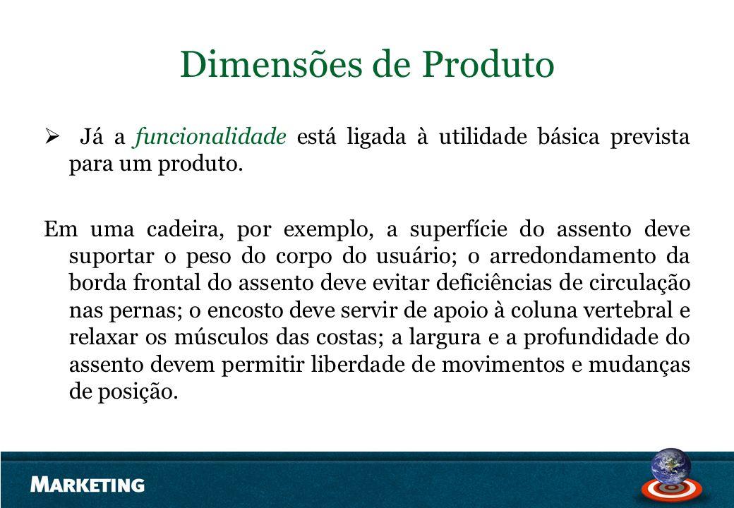 Dimensões de Produto Já a funcionalidade está ligada à utilidade básica prevista para um produto. Em uma cadeira, por exemplo, a superfície do assento