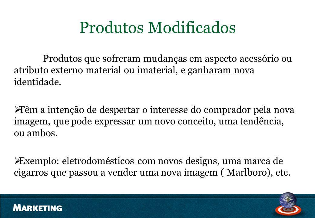 Produtos Modificados Produtos que sofreram mudanças em aspecto acessório ou atributo externo material ou imaterial, e ganharam nova identidade. Têm a
