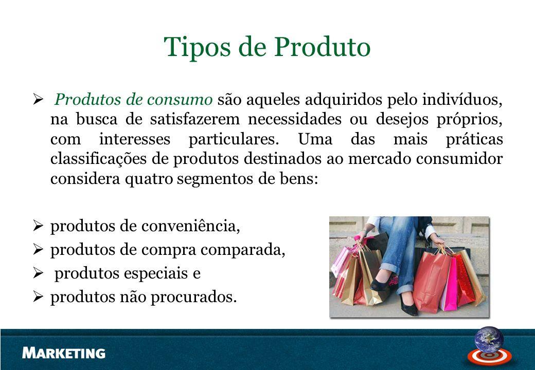 Tipos de Produto Produtos de consumo são aqueles adquiridos pelo indivíduos, na busca de satisfazerem necessidades ou desejos próprios, com interesses