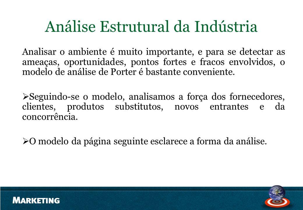 Análise Estrutural da Indústria Analisar o ambiente é muito importante, e para se detectar as ameaças, oportunidades, pontos fortes e fracos envolvido