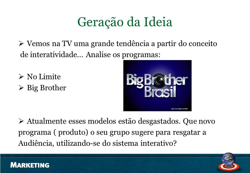 Geração da Ideia Vemos na TV uma grande tendência a partir do conceito de interatividade... Analise os programas: No Limite Big Brother Atualmente ess