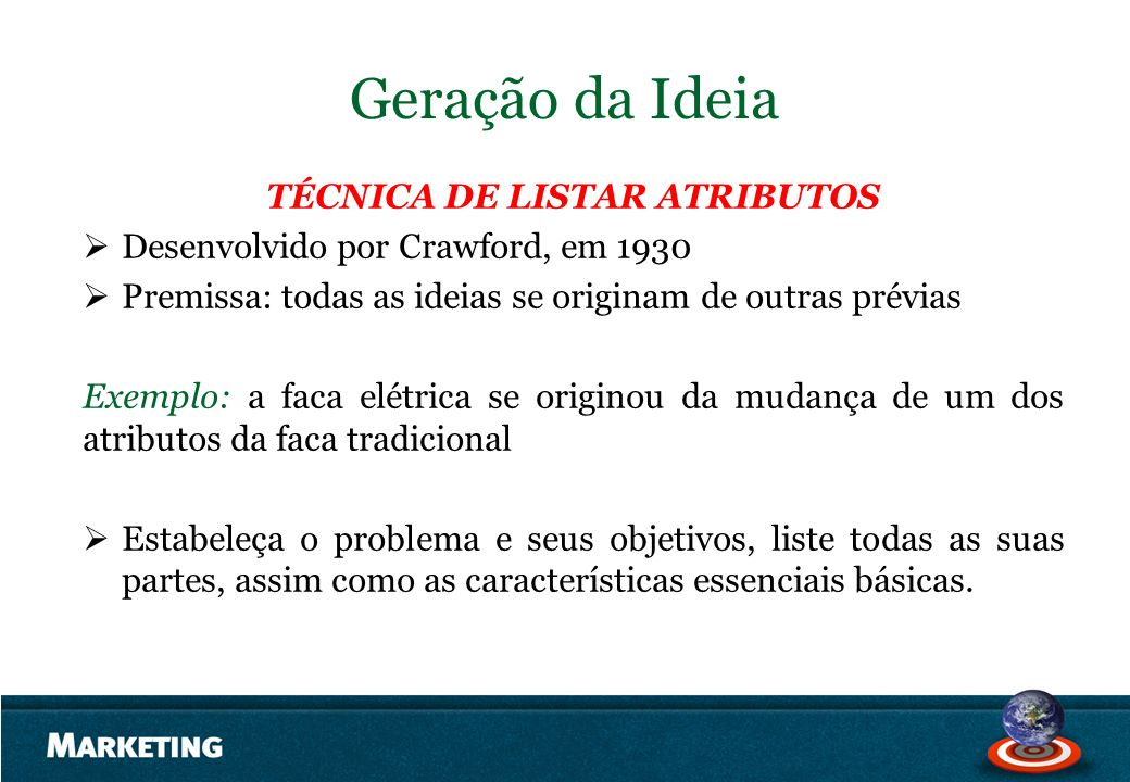 Geração da Ideia TÉCNICA DE LISTAR ATRIBUTOS Desenvolvido por Crawford, em 1930 Premissa: todas as ideias se originam de outras prévias Exemplo: a fac