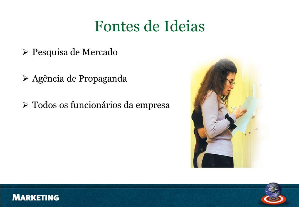 Fontes de Ideias Pesquisa de Mercado Agência de Propaganda Todos os funcionários da empresa