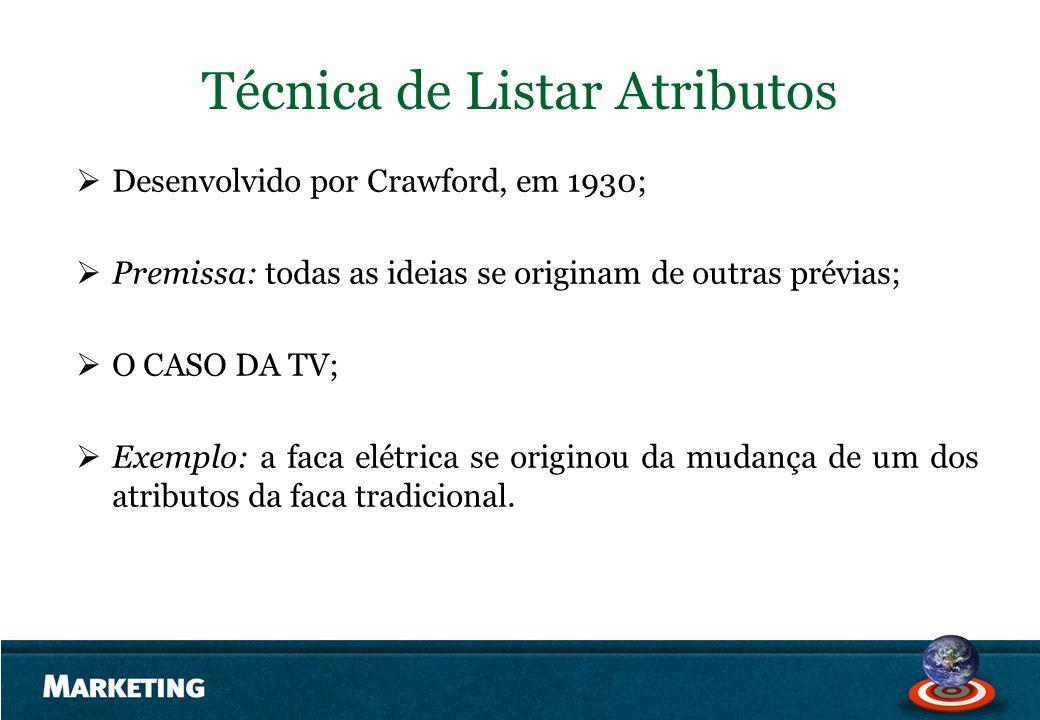 Técnica de Listar Atributos Desenvolvido por Crawford, em 1930; Premissa: todas as ideias se originam de outras prévias; O CASO DA TV; Exemplo: a faca