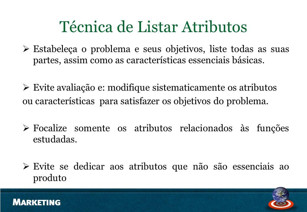 Técnica de Listar Atributos Estabeleça o problema e seus objetivos, liste todas as suas partes, assim como as características essenciais básicas. Evit