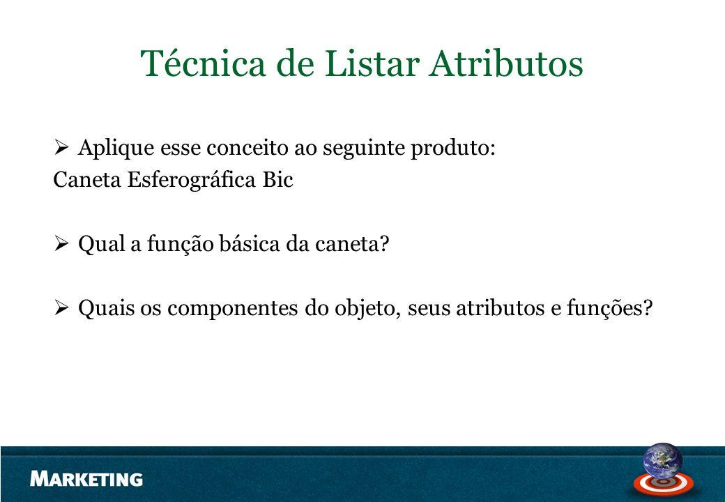 Técnica de Listar Atributos Aplique esse conceito ao seguinte produto: Caneta Esferográfica Bic Qual a função básica da caneta? Quais os componentes d