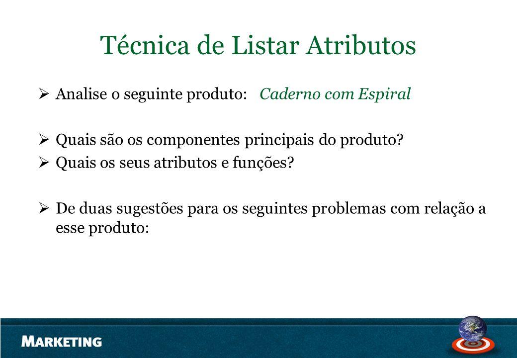Técnica de Listar Atributos Analise o seguinte produto: Caderno com Espiral Quais são os componentes principais do produto? Quais os seus atributos e
