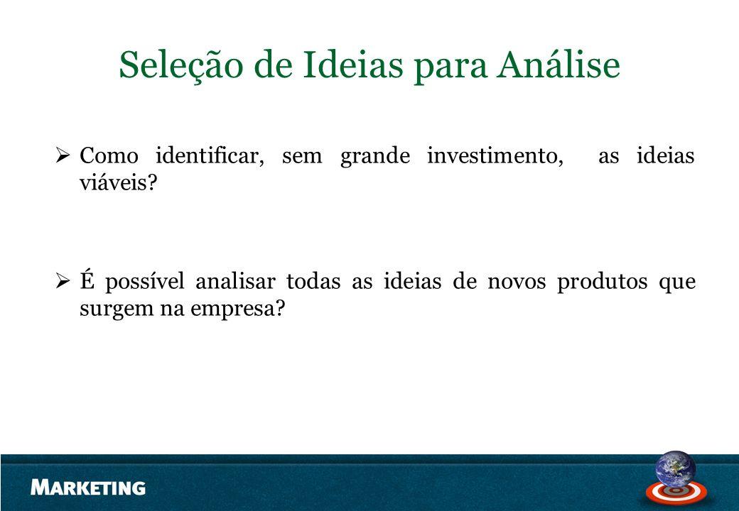 Seleção de Ideias para Análise Como identificar, sem grande investimento, as ideias viáveis? É possível analisar todas as ideias de novos produtos que