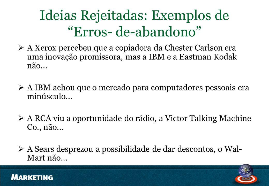 Ideias Rejeitadas: Exemplos de Erros- de-abandono A Xerox percebeu que a copiadora da Chester Carlson era uma inovação promissora, mas a IBM e a Eastm