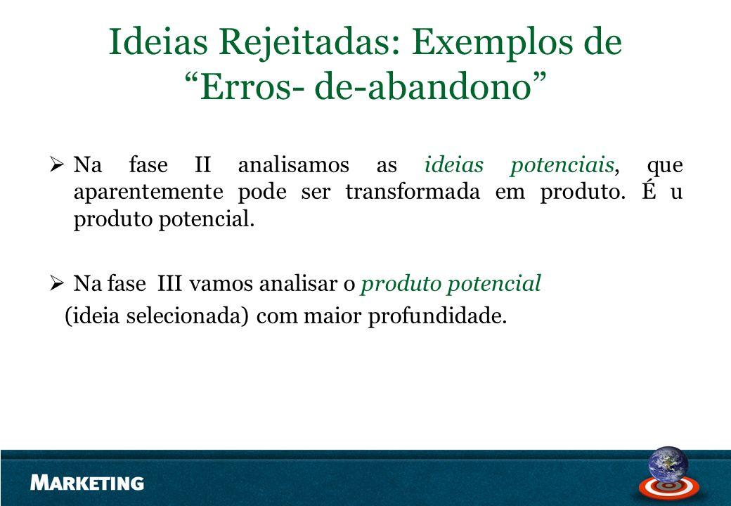 Ideias Rejeitadas: Exemplos de Erros- de-abandono Na fase II analisamos as ideias potenciais, que aparentemente pode ser transformada em produto. É u