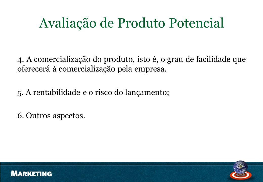 Avaliação de Produto Potencial 4. A comercialização do produto, isto é, o grau de facilidade que oferecerá à comercialização pela empresa. 5. A rentab