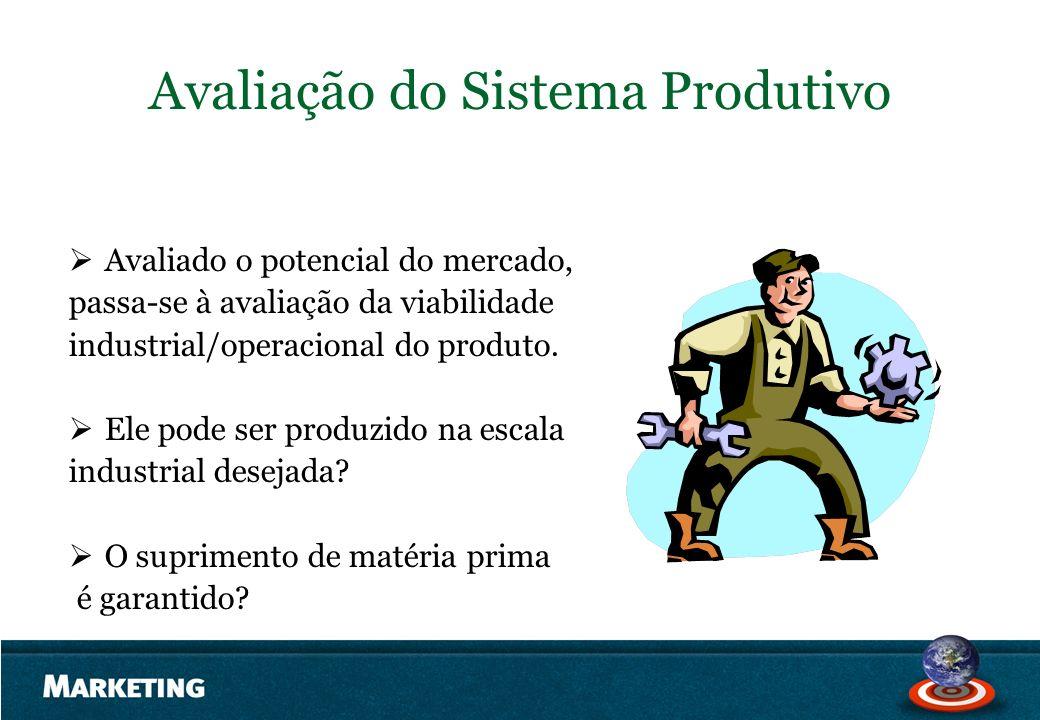 Avaliação do Sistema Produtivo Avaliado o potencial do mercado, passa-se à avaliação da viabilidade industrial/operacional do produto. Ele pode ser pr