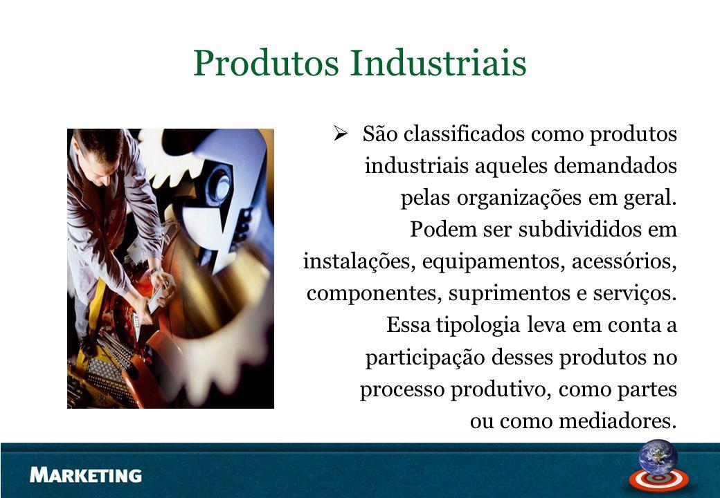 Produtos Industriais São classificados como produtos industriais aqueles demandados pelas organizações em geral. Podem ser subdivididos em instalações