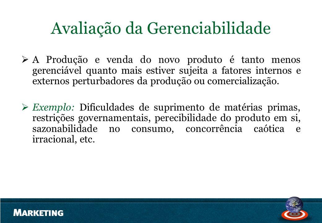 Avaliação da Gerenciabilidade A Produção e venda do novo produto é tanto menos gerenciável quanto mais estiver sujeita a fatores internos e externos p