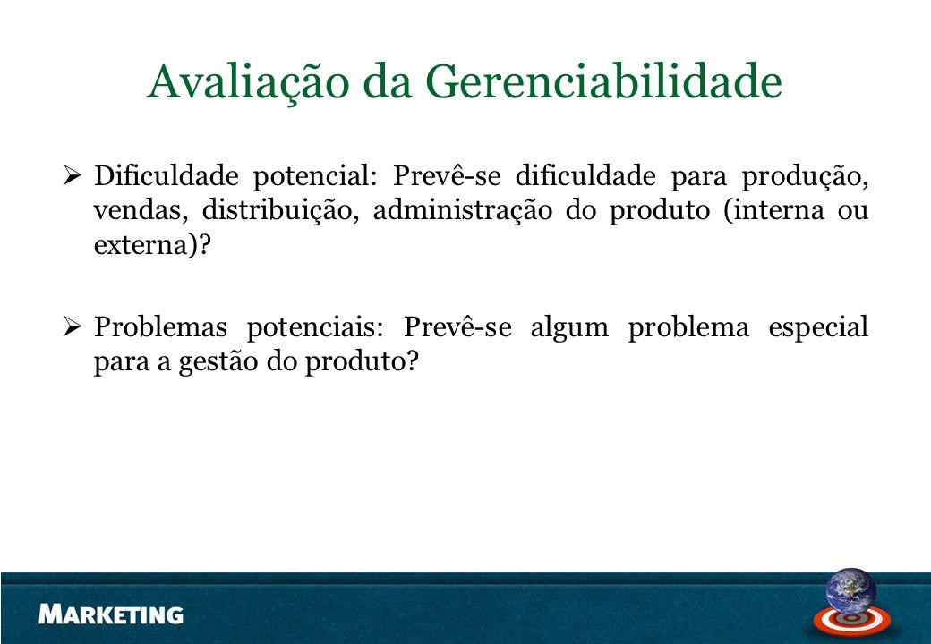 Avaliação da Gerenciabilidade Dificuldade potencial: Prevê-se dificuldade para produção, vendas, distribuição, administração do produto (interna ou ex