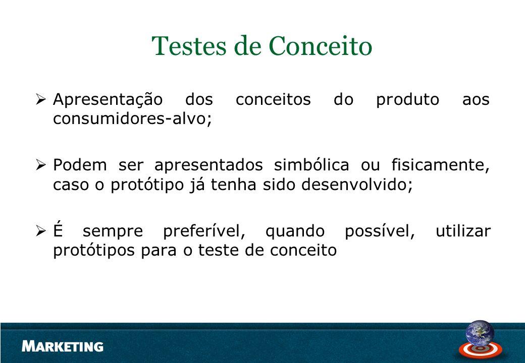 Testes de Conceito Apresentação dos conceitos do produto aos consumidores-alvo; Podem ser apresentados simbólica ou fisicamente, caso o protótipo já t