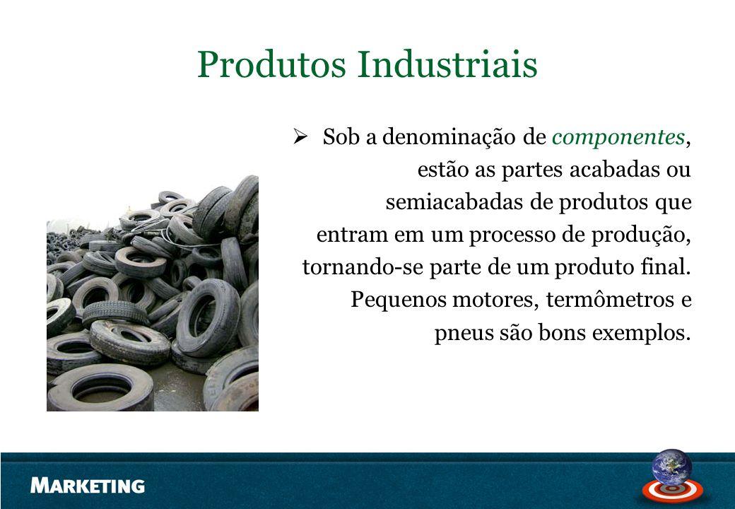 Produtos Industriais Sob a denominação de componentes, estão as partes acabadas ou semiacabadas de produtos que entram em um processo de produção, tor