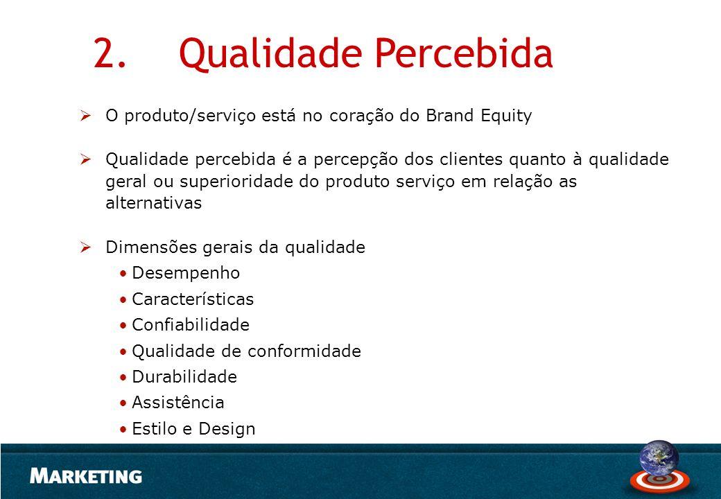 O produto/serviço está no coração do Brand Equity Qualidade percebida é a percepção dos clientes quanto à qualidade geral ou superioridade do produto