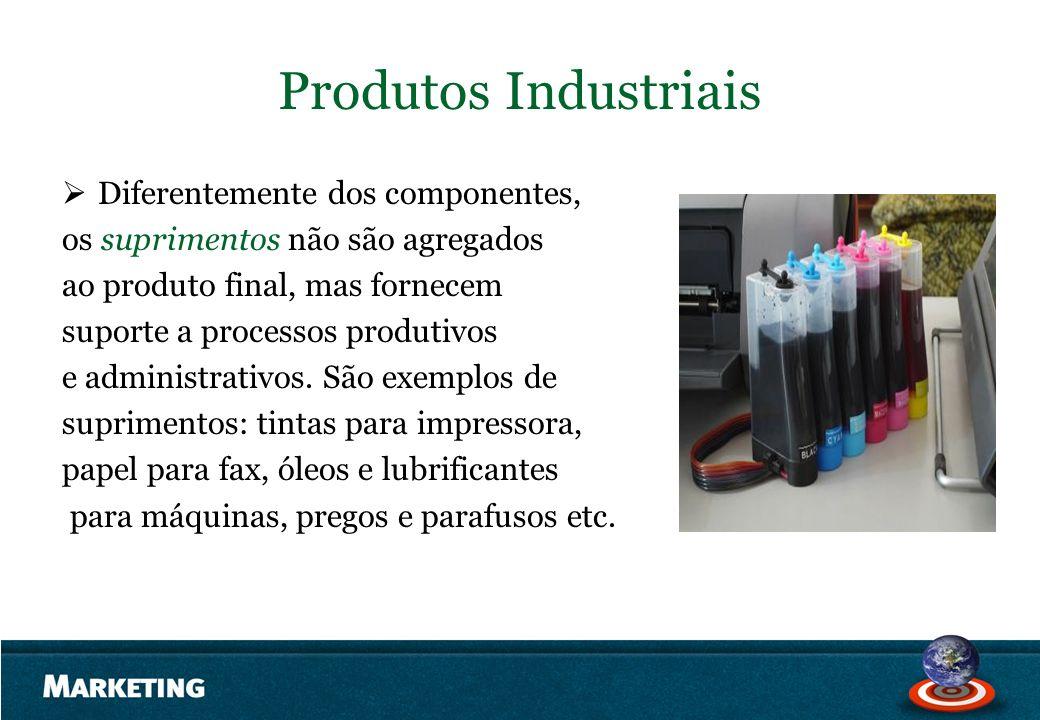 Produtos Industriais Diferentemente dos componentes, os suprimentos não são agregados ao produto final, mas fornecem suporte a processos produtivos e