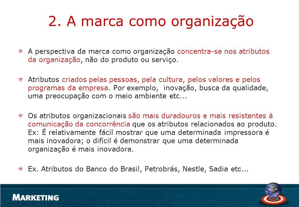 2. A marca como organização A perspectiva da marca como organização concentra-se nos atributos da organização, não do produto ou serviço. Atributos cr
