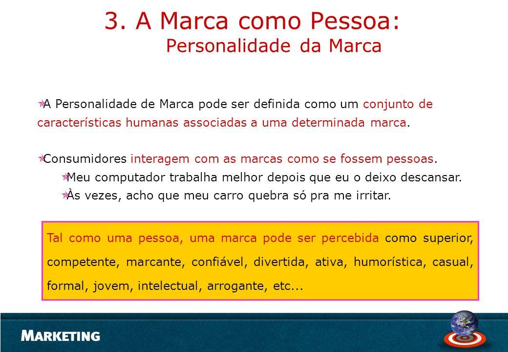 A Personalidade de Marca pode ser definida como um conjunto de características humanas associadas a uma determinada marca. Consumidores interagem com