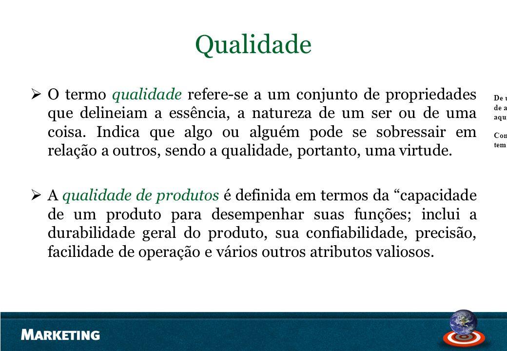 Qualidade O termo qualidade refere-se a um conjunto de propriedades que delineiam a essência, a natureza de um ser ou de uma coisa. Indica que algo ou