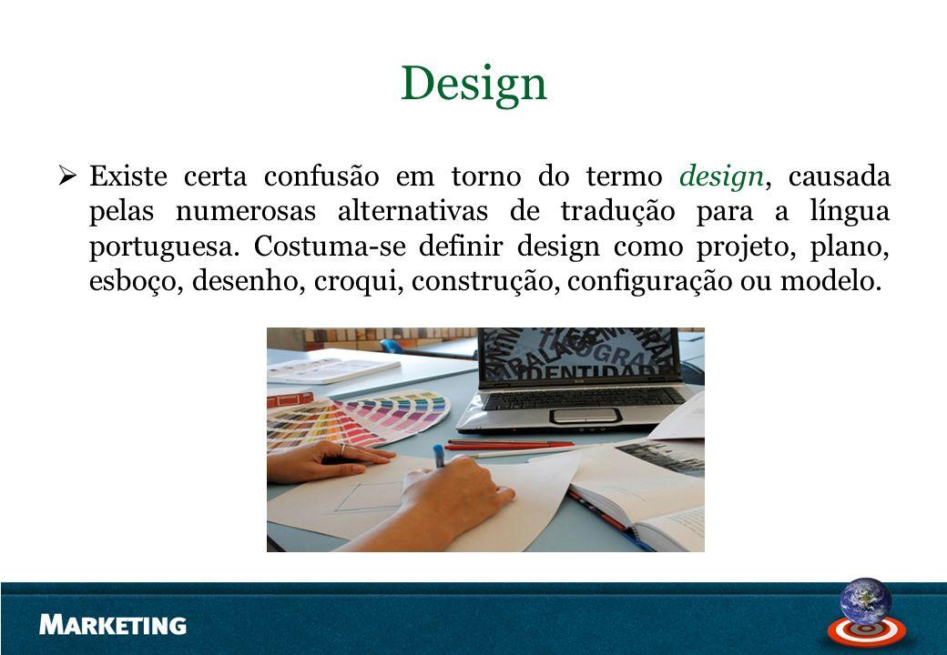Design Existe certa confusão em torno do termo design, causada pelas numerosas alternativas de tradução para a língua portuguesa. Costuma-se definir d