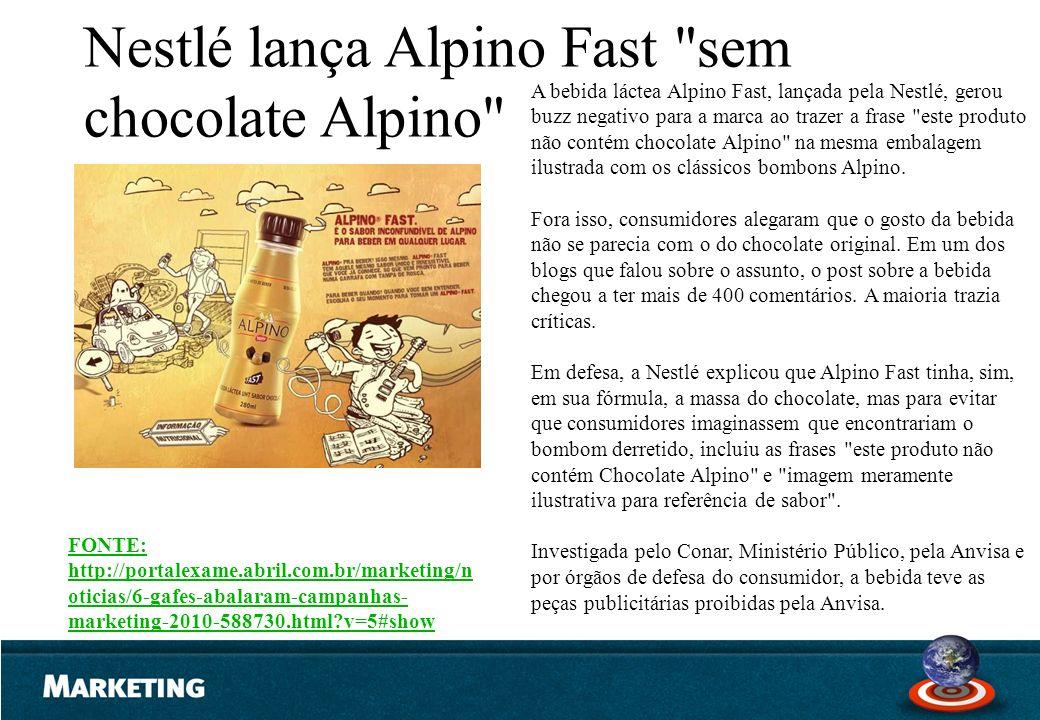 A bebida láctea Alpino Fast, lançada pela Nestlé, gerou buzz negativo para a marca ao trazer a frase