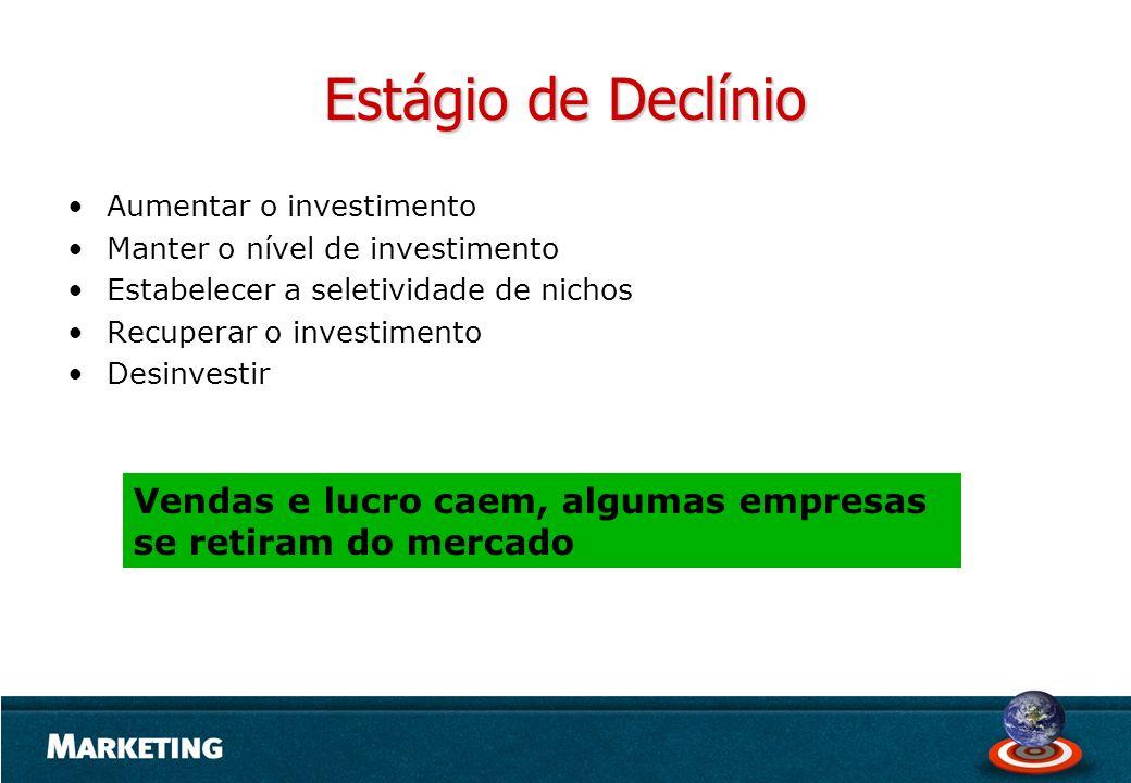 Estágio de Declínio Aumentar o investimento Manter o nível de investimento Estabelecer a seletividade de nichos Recuperar o investimento Desinvestir V