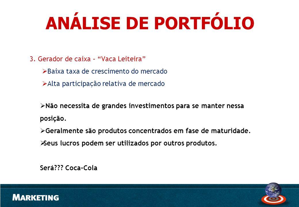 3. Gerador de caixa – Vaca Leiteira Baixa taxa de crescimento do mercado Alta participação relativa de mercado Não necessita de grandes investimentos