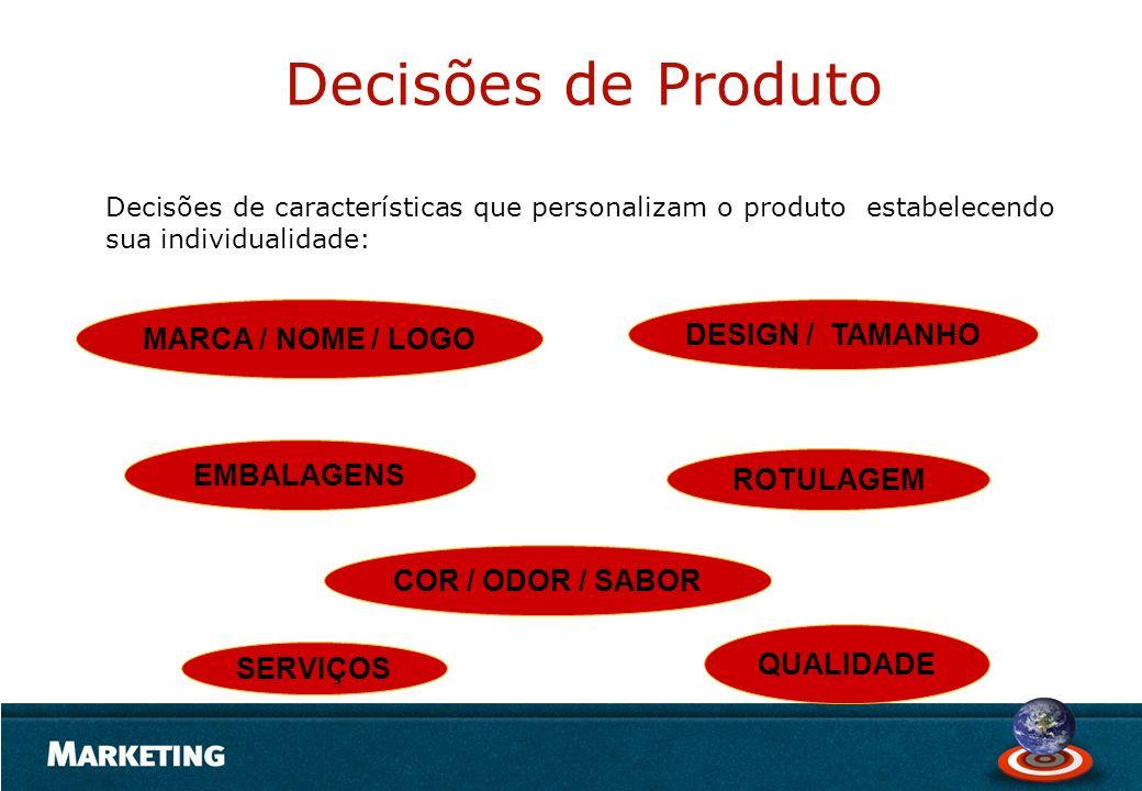 SERVIÇOS COR / ODOR / SABOR EMBALAGENS MARCA / NOME / LOGO QUALIDADE ROTULAGEM DESIGN / TAMANHO Decisões de características que personalizam o produto