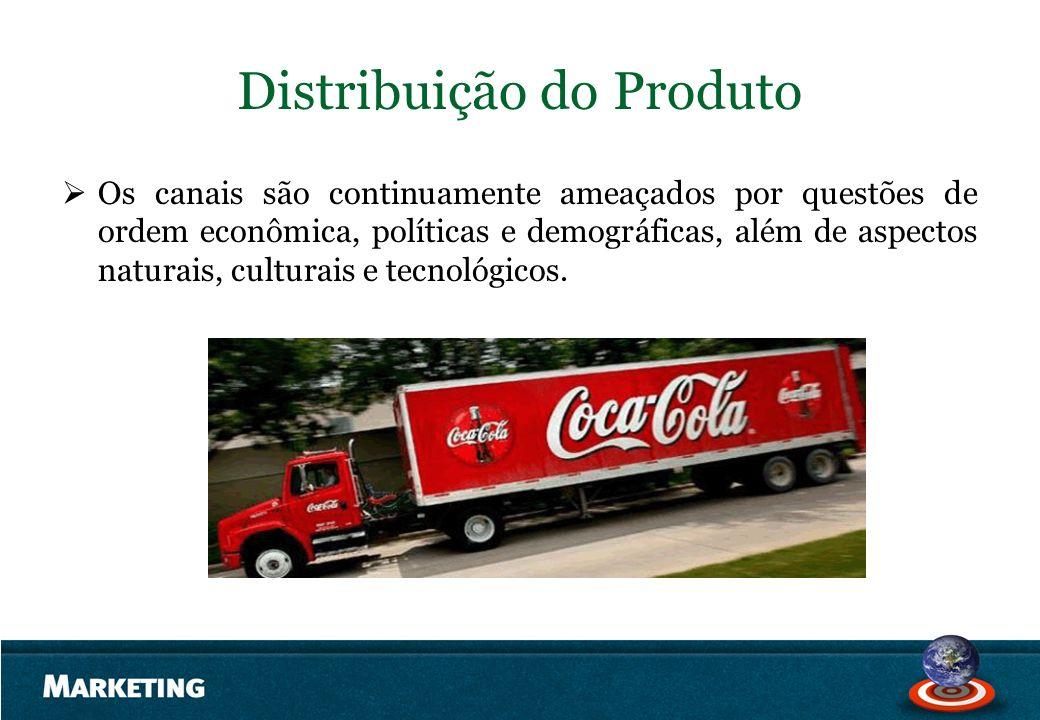 Distribuição do Produto Os canais são continuamente ameaçados por questões de ordem econômica, políticas e demográficas, além de aspectos naturais, cu