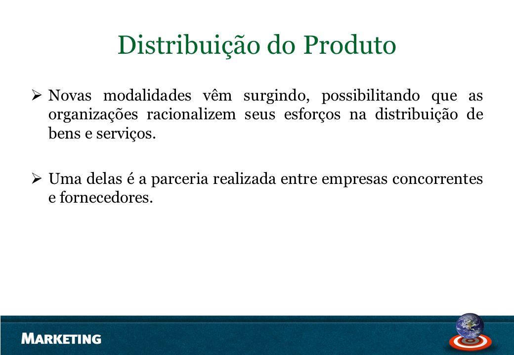 Distribuição do Produto Novas modalidades vêm surgindo, possibilitando que as organizações racionalizem seus esforços na distribuição de bens e serviç