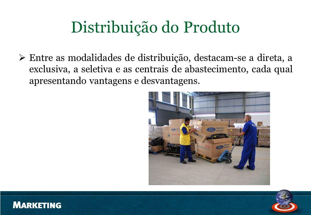 Distribuição do Produto Entre as modalidades de distribuição, destacam-se a direta, a exclusiva, a seletiva e as centrais de abastecimento, cada qual