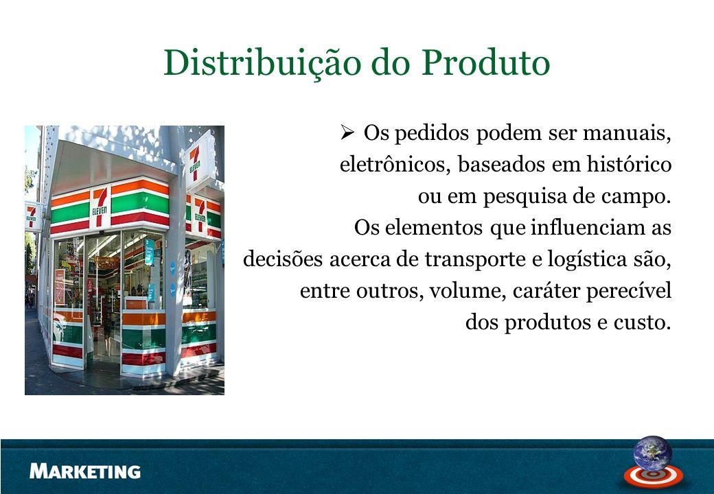 Distribuição do Produto Os pedidos podem ser manuais, eletrônicos, baseados em histórico ou em pesquisa de campo. Os elementos que influenciam as deci