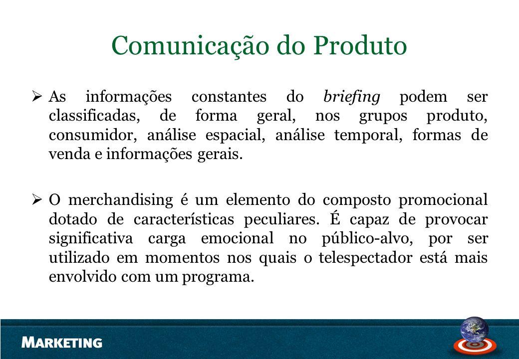 Comunicação do Produto As informações constantes do briefing podem ser classificadas, de forma geral, nos grupos produto, consumidor, análise espacial