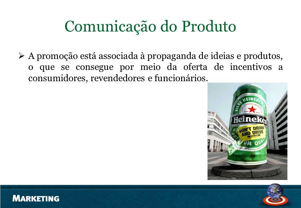 Comunicação do Produto A promoção está associada à propaganda de ideias e produtos, o que se consegue por meio da oferta de incentivos a consumidores,