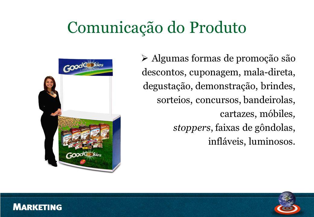 Comunicação do Produto Algumas formas de promoção são descontos, cuponagem, mala-direta, degustação, demonstração, brindes, sorteios, concursos, bande