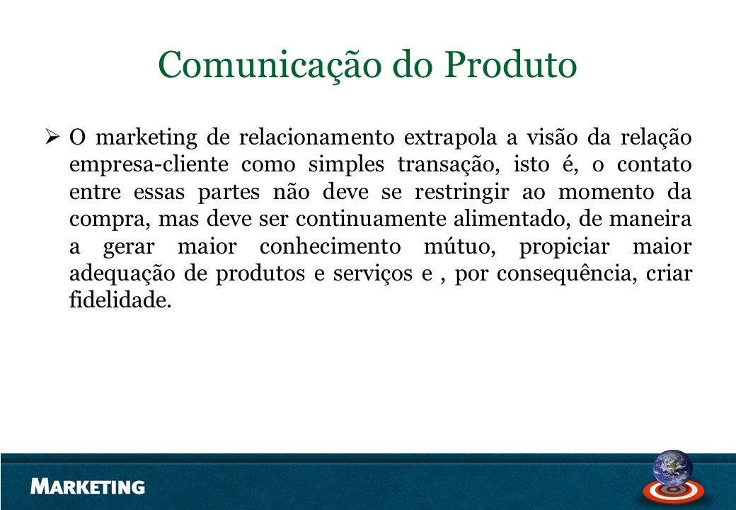 Comunicação do Produto O marketing de relacionamento extrapola a visão da relação empresa-cliente como simples transação, isto é, o contato entre essa