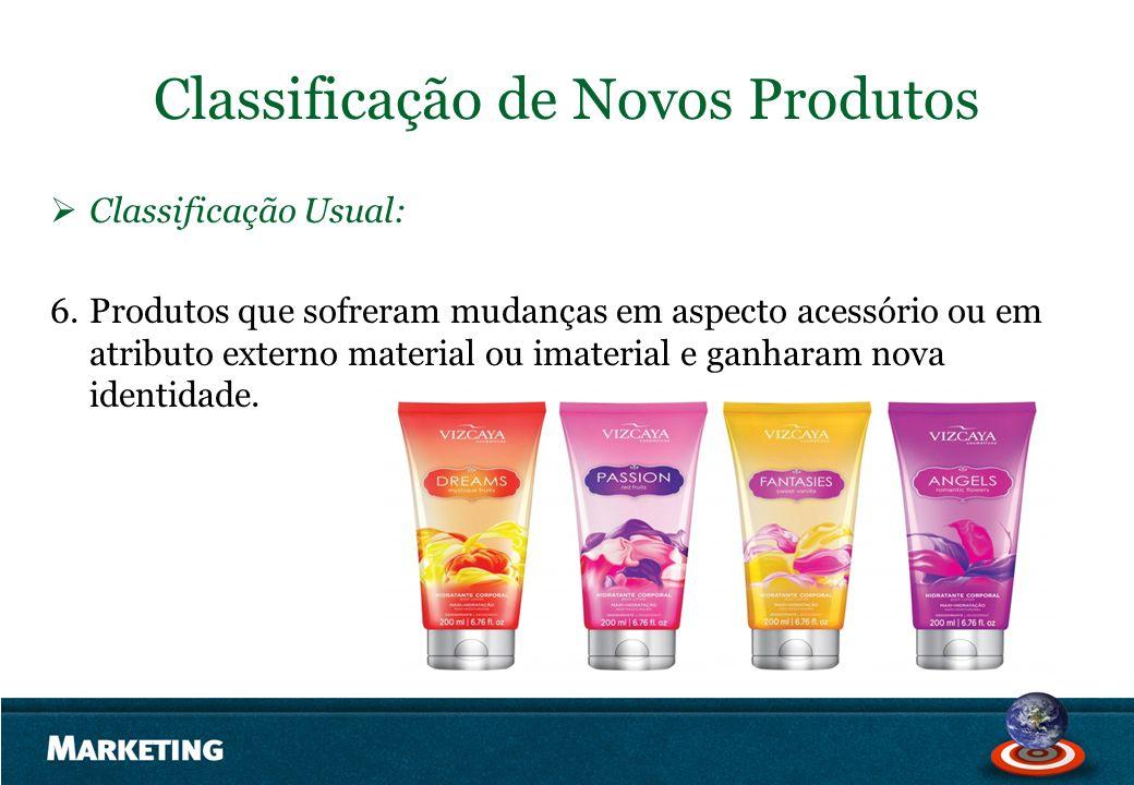 Classificação de Novos Produtos Classificação Usual: 6.Produtos que sofreram mudanças em aspecto acessório ou em atributo externo material ou imateria