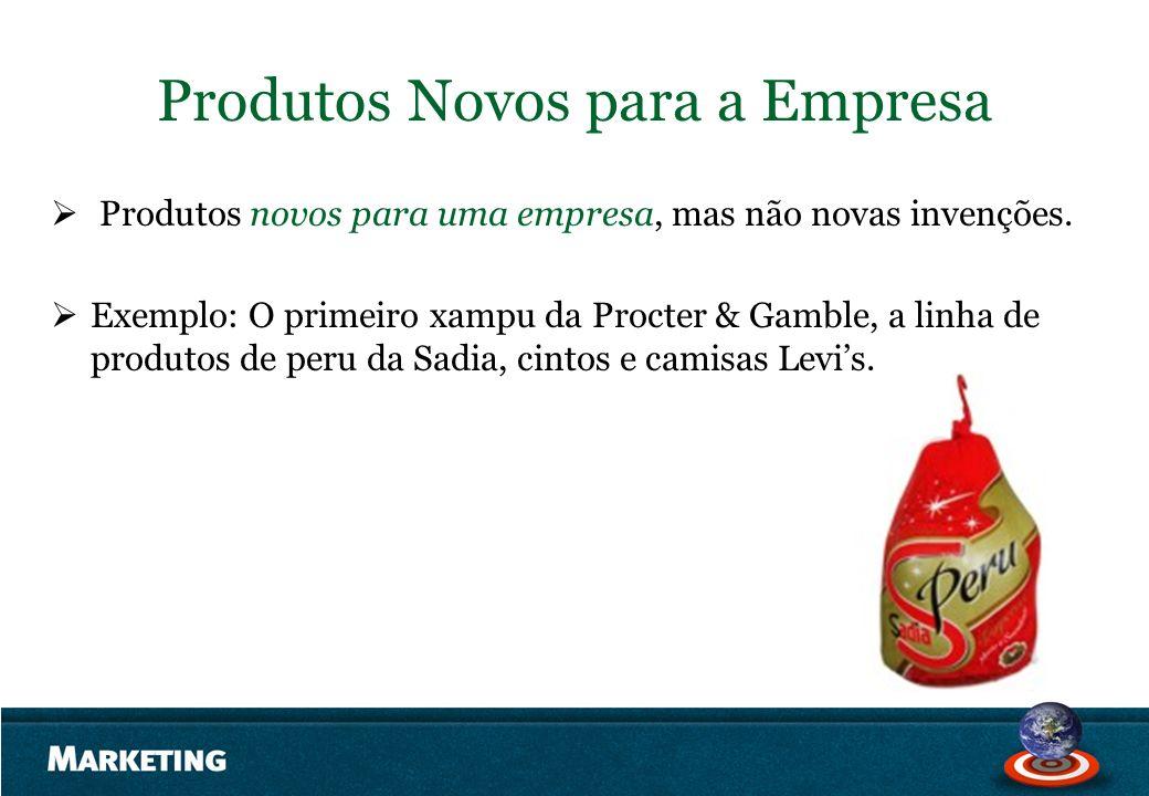 Produtos Novos para a Empresa Produtos novos para uma empresa, mas não novas invenções. Exemplo: O primeiro xampu da Procter & Gamble, a linha de prod