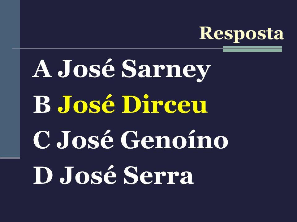 A José Sarney B José Dirceu C José Genoíno D José Serra Resposta