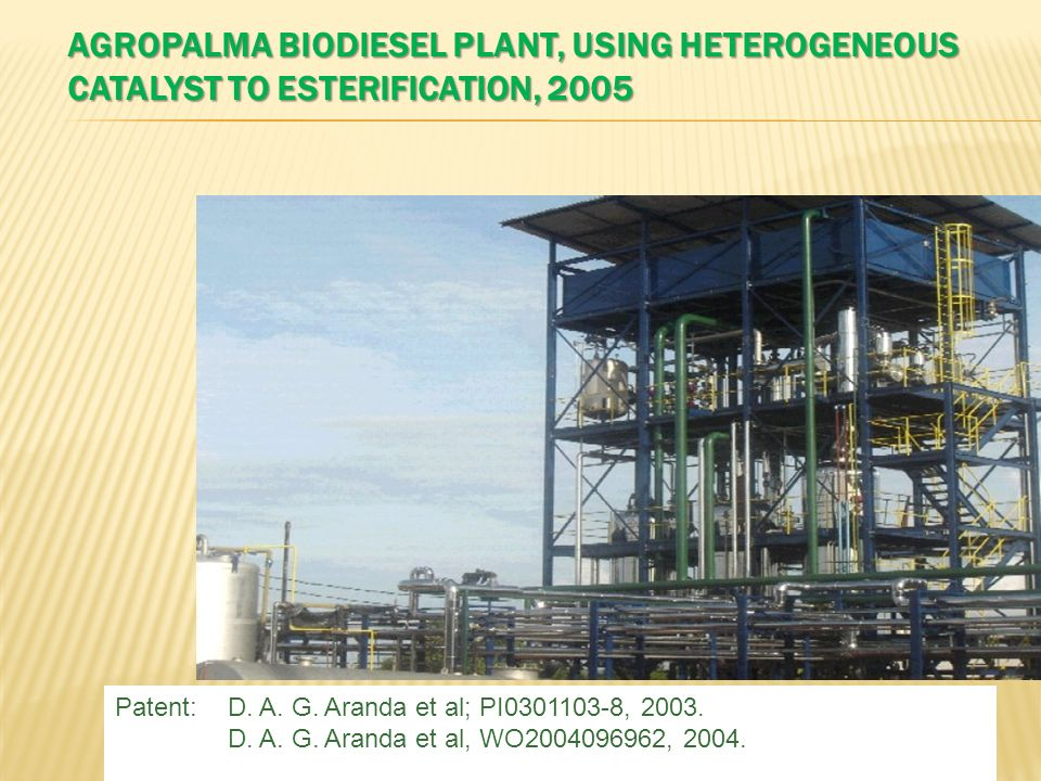 AGROPALMA BIODIESEL PLANT, USING HETEROGENEOUS CATALYST TO ESTERIFICATION, 2005 Patent:D. A. G. Aranda et al; PI0301103-8, 2003. D. A. G. Aranda et al