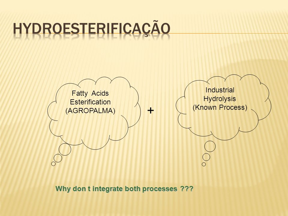 Fatty Acids Esterification (AGROPALMA) Industrial Hydrolysis (Known Process) Why don t integrate both processes ??? +