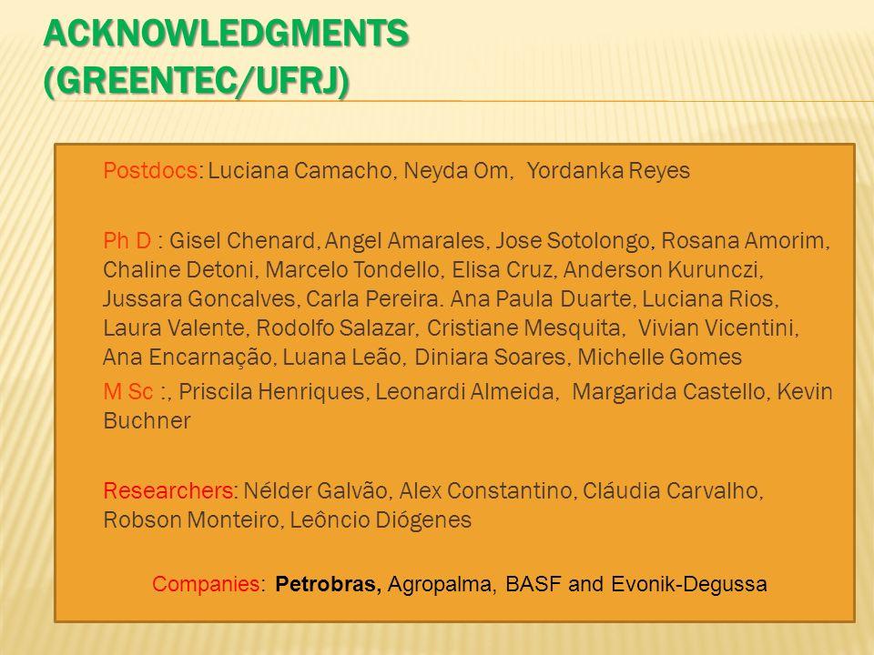 ACKNOWLEDGMENTS (GREENTEC/UFRJ) Postdocs: Luciana Camacho, Neyda Om, Yordanka Reyes Ph D : Gisel Chenard, Angel Amarales, Jose Sotolongo, Rosana Amori