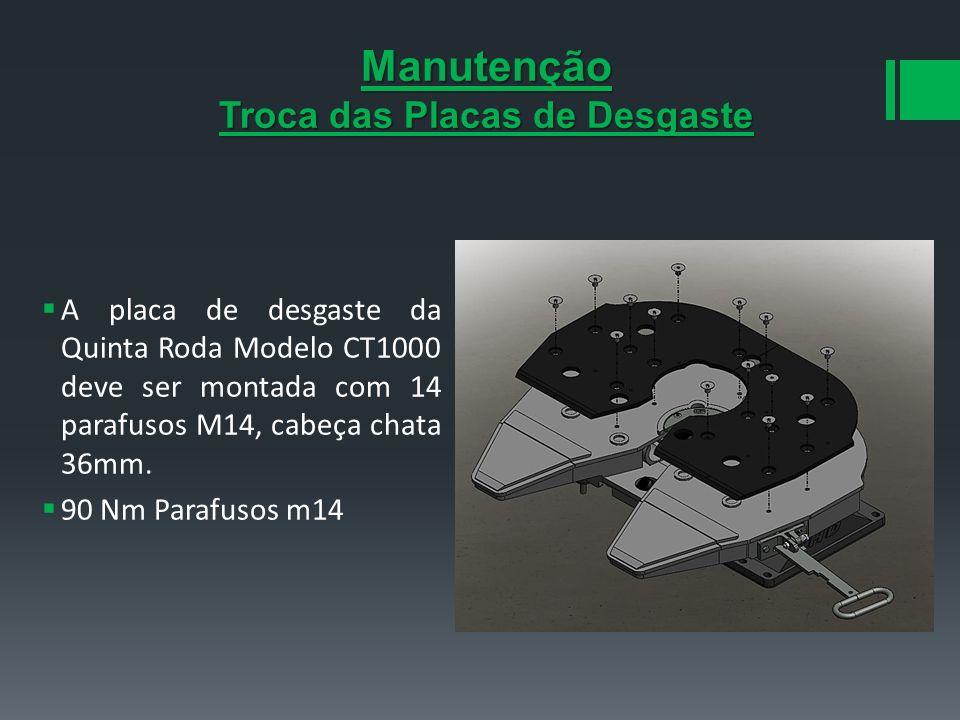 Manutenção Troca das Placas de Desgaste A placa de desgaste da Quinta Roda Modelo CT1000 deve ser montada com 14 parafusos M14, cabeça chata 36mm. 90
