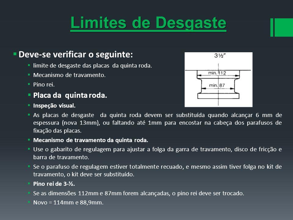 Deve-se verificar o seguinte: limite de desgaste das placas da quinta roda. Mecanismo de travamento. Pino rei. Placa da quinta roda. Inspeção visual.